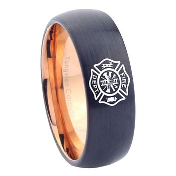8mm Fire Department Dome Tungsten Carbide Rose Gold Men's Wedding Ring