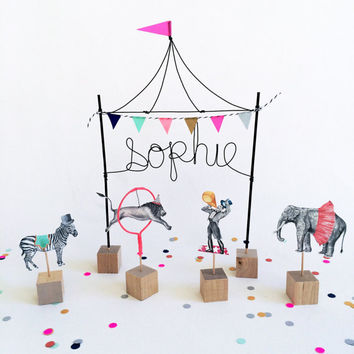 Personalized Circus Cake Topper