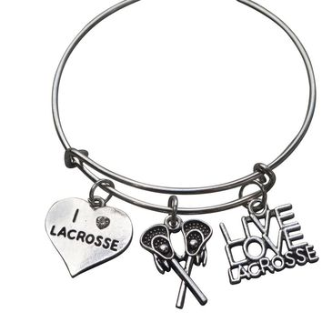 Girls Lacrosse Charm Bangle Bracelet