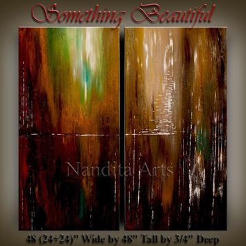 "Large Canvas Art Original ABSTRACT PAINTING Modern Oil Painting ""Something Beautiful"" fine art ready to Hang artwork Deco Art 48X48, Nandita"