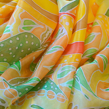 Citrus Ripples scarf, handpainted silk scarf, long scarf, yellow silk stole, lemon yellow, one-of-a-kind scarf, tribal style abstract design