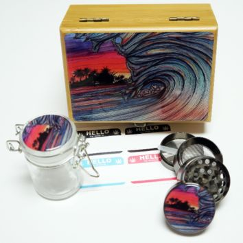 """Throwing Wave -  Stash Box Combo - Small 4 Part Grinder and stash jar - 1.5"""" w/ Glass jar with labels Wood Stash Boxes"""