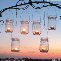 12 Hanging Garden Light DIY Mason Jar Lantern Hangers, DIY Candle Jar or Flower Vase Hangers, No Jars