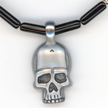 Skull Pendant with Black Beaded Necklace Molded Lead by Lehane