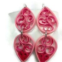 Eco-Friendly Paper Quilled Earrings, Pink Dangle Double Drops - paper quilling jewelry, paper quilling earrings, paper quilled jewelry