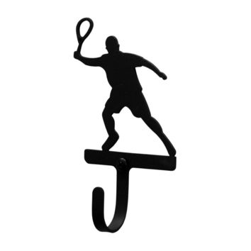 Wrought Iron Tennis Player Decorative Wall Hook Small
