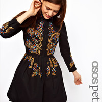 ASOS PETITE Exclusive Embroidered Dress In Cotton Ottoman