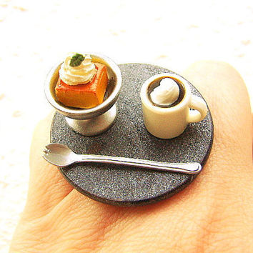 Food Ring Coffee Cake  Miniature Food Jewelry CIJ Christmasinjuly