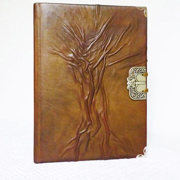 Leather Journal, A5 Mens Diary, Tree of Life, Christmas Gift, Handmade, Leather Gift for Him,  for Her, Boyfriend, Art Notebook, Leather Art