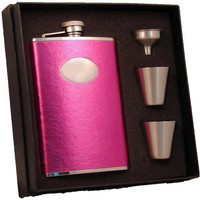 Visol Britney Hot Pink Leather 8oz Stainless Steel Hip Flask Gift Set