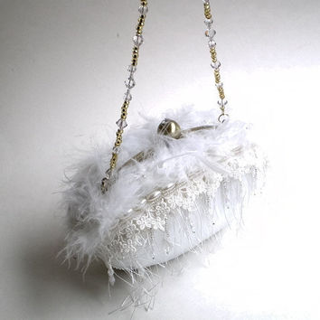 Luxury couture bridal clutch purse white crystals by BoudicaBags