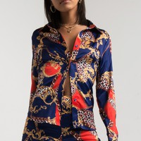 AKIRA Short Collar Button Down Retro Printed Pyjama Blouse in Print