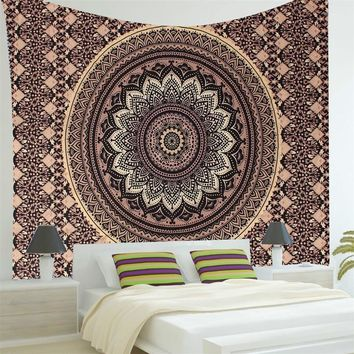 Gold Boho Large Tapestry Wall Hanging, 78x57in