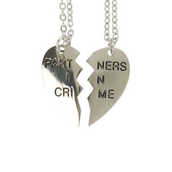 Licensed cool Partners in Crime Broken Heart Best Friends 2PK Necklace Lovesick Silver Tone