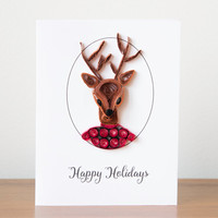 Unique Christmas Card - Reindeer Christmas Card - Merry Christmas Card - Handmade Holiday Card -