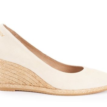 Roses Suede Wedges - Cream