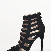 Peep Toe Caged Heels - 5.5