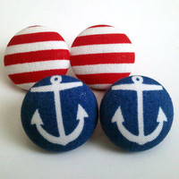 2 for $11 Nautical Sailor earring set. Red and white stripes and navy blue anchor button earrings
