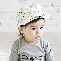 Baby Caps Hat with Cat Ears Hat Cartoon Kids Baby Baseball Cap Summer Sun Hats Beard Stars Cotton Caps For Baby Boy Girls