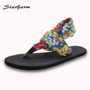 sandals woman 2017 summer shoes yoga sling flip flops women print casual flats sole EVA cross tied shoes fashion cheap shoes
