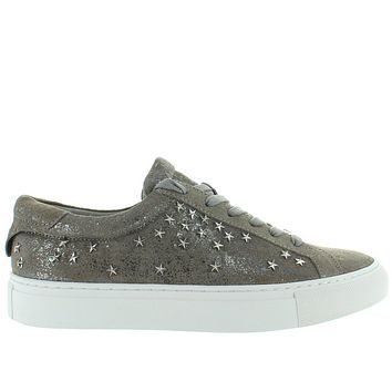 JSlides Liberty - Pewter Metallic Leather Star-Studded Lace Platform Sneaker