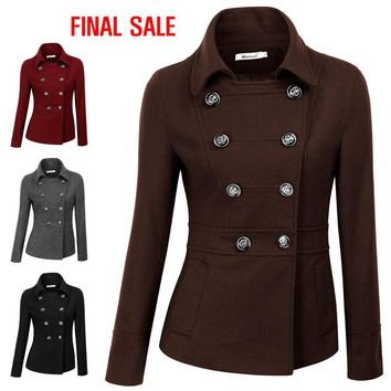 Womens Hooded Double Breasted Pea Coat Jacket