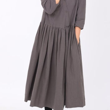 dark gray Cotton lapel Wear Long pleated dress