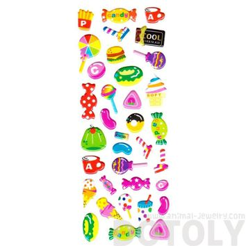 Candies Burgers Ice Cream Jelly Bean Shaped Sweets Food Themed Puffy Stickers for Kids