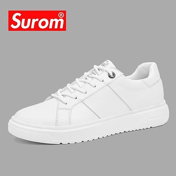 SUROM Men's White Leather Casual Shoes Sneakers Brogue Style Fashion Flats Brand Spring Autumn Male Shoes Loafers Krasovki Men
