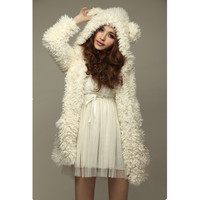 2016 Autumn Winter Warm Women Hoodie Coat Jacket Teddy Bear Rabbit Ears Thick Soft Fleece Fur Sweatshirt Hooded Long Outerwear