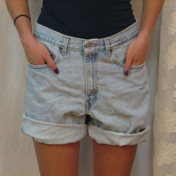 Oversized High Waisted  Vintage Levi's Plain Jean Cut off Denim Shorts Custom made to Order rolled boyfriend s m l xl 2x 3x