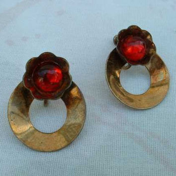 Ruby Red Glass Cabochon Earrings Vermeil Screw on Style Vintage Jewelry