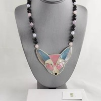 Vintage Lee Sands MOP inlay Sly Fox Pendant on Gemstone Beaded Necklace