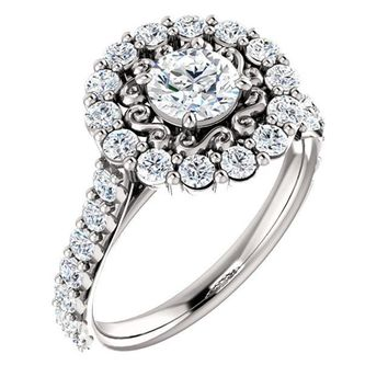0.50 Ct Round Diamond Engagement Ring 14k White Gold