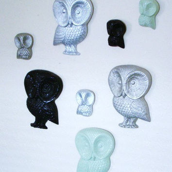Vintage upcycled and revamped owl wall hanging set of 8 resin and foam OWLS