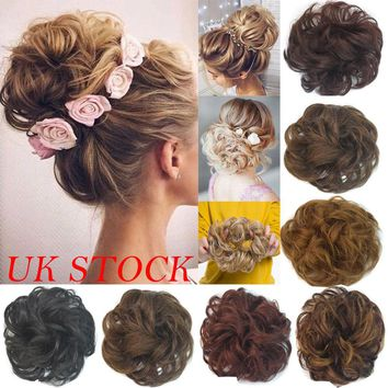UK 100% Natural Curly Messy Bun Hair Piece Scrunchie Real Thick Hair Extensions