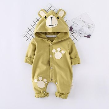 New Newborn Infant Baby Boy Rompers Cute Bear Hooded Jumpsuit Cotton Long Sleeve Baby Girl Clothes Outfits
