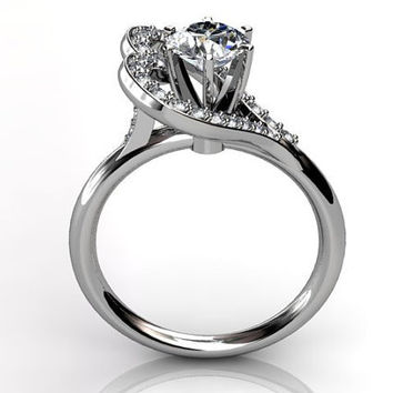 Platinum diamond heart shape engagement ring, bridal ring, wedding ring ER-1028