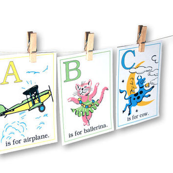 "Digital retro baby ABC flashcards / alphabet flash cards/ downloadable / printable / 5"" by 7"" / 3"" by 4.2"" / pastels / nursery wall art"