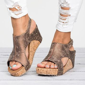 Hot Selling Leather Wedges Heels Summer Leather Wedge Heels Sandals