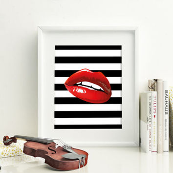 Printable art,Red lips print,Fashion print,Prints and quotes,Red lips wall decor,Printable quote,Lips print,red lips art,digital prints,art