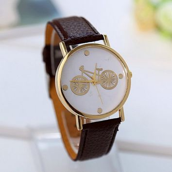 Cartoon Bicycle creative watch with Brown Leather Strap Wrist
