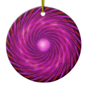 Pink Black Spiral Wave Kaleidoscope Art Ceramic Ornament