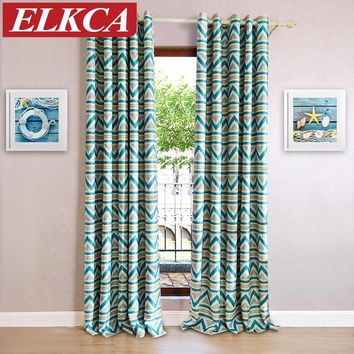 1 PC Blue Striped Printed Blackout Curtains for Living Room Modern Window Curtains for the Bedroom Kids Curtains for Children