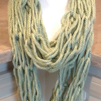 Sage Green Chunky Arm Knit Infinity Winter Scarf