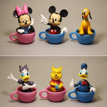 Disney Mickey Mouse Minnie coffee cup 6pcs/set 7cm Action Figure Posture Anime Decoration Collection Figurine Toy model
