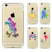 painted Case for apple iphone 6 case Cartoon Animal Kissing Mickey Minnie Mouse Soft Clear TPU Case for iphone 6s Plus case