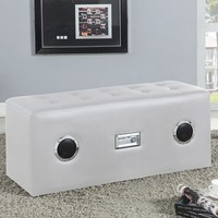 Laila collection white leather like vinyl bluetooth speaker lounge bench