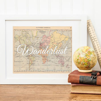 Typographic Quote Wall Art, Wanderlust, Inspirational Travel Quote, Vintage World Map, Wall Art Printable, INSTANT DOWNLOAD