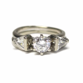 Vintage 18K 1 Carat Diamond Wedding Set Engagement Ring Size 4
